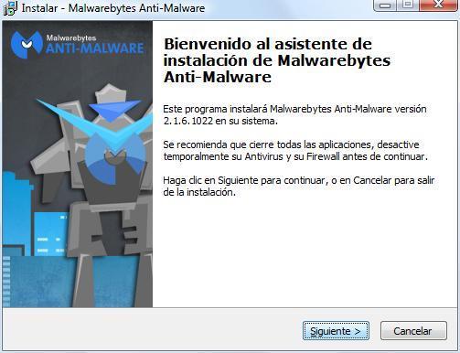 Pantalla inicio instalación de Malwarebyte.