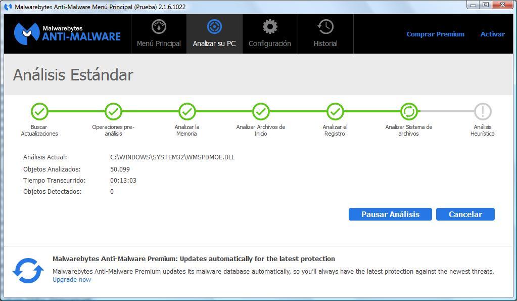 Malwarebyte buscando virus.
