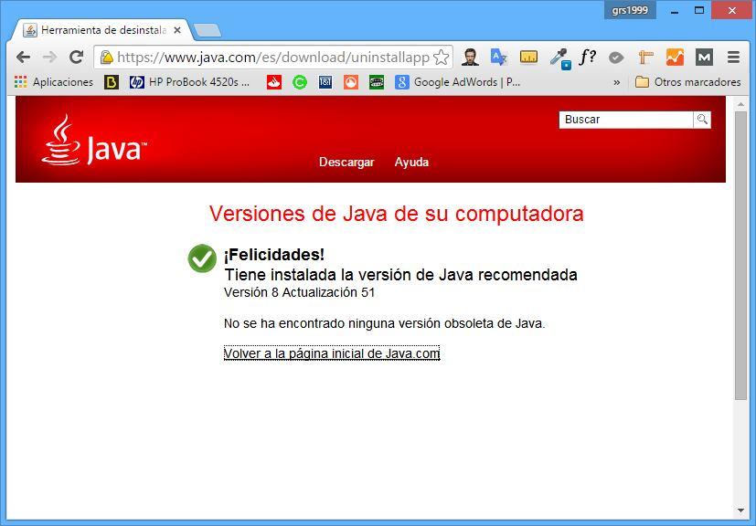 Resultado correcto de las pruebas Java en Chrome 42 o posterior