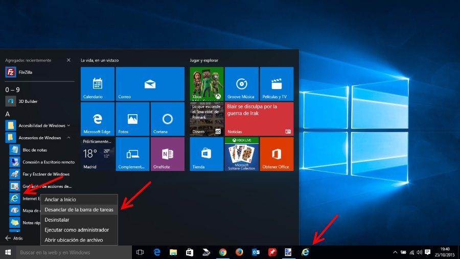 Anclar Internet Explorer 11 en la barra de tareas de Windows 10