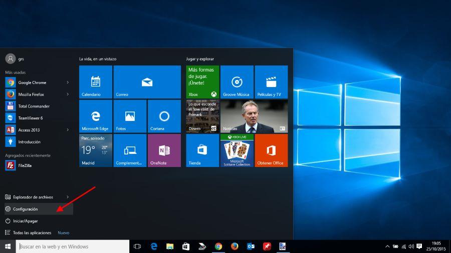 Ir a configuración en windows 10