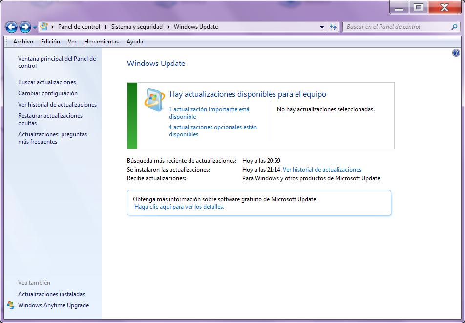 Panel de windows Update