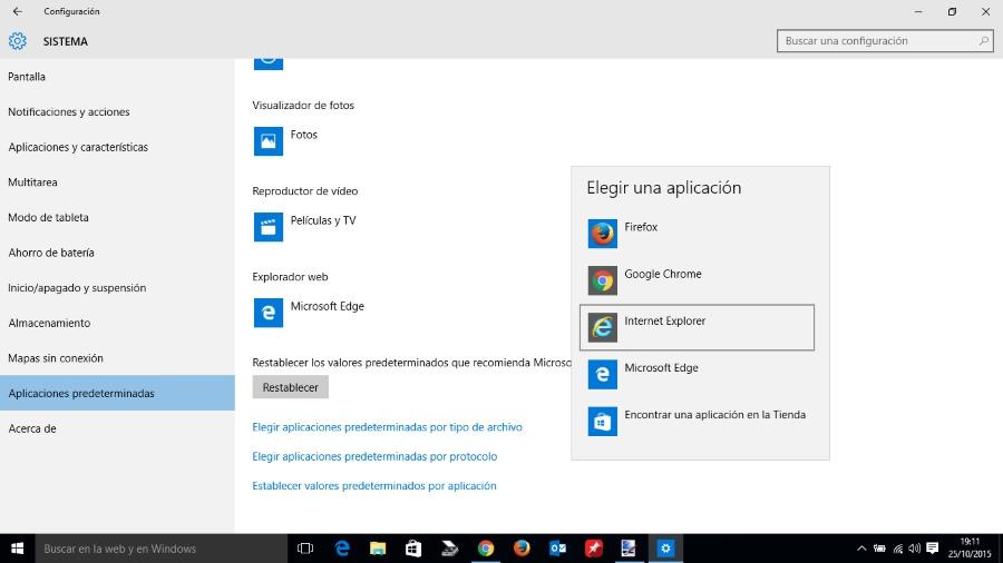 Seleccionar navegador por defecto Windows 10.