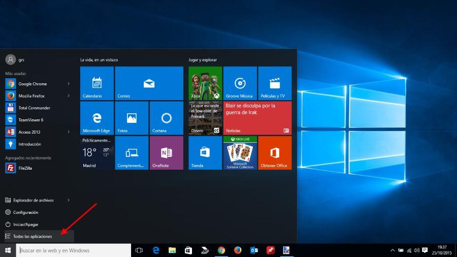 Ver todas las aplicaciones instaladas en windows 10