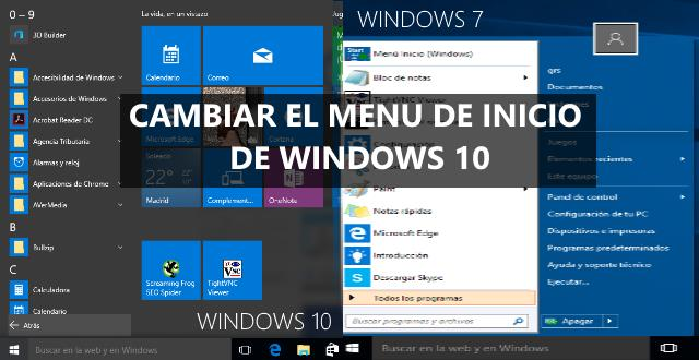 Cambiar menú inicio de Windows 10