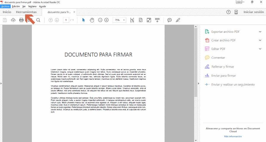 Firmar un PDF para lexnet seleccionado