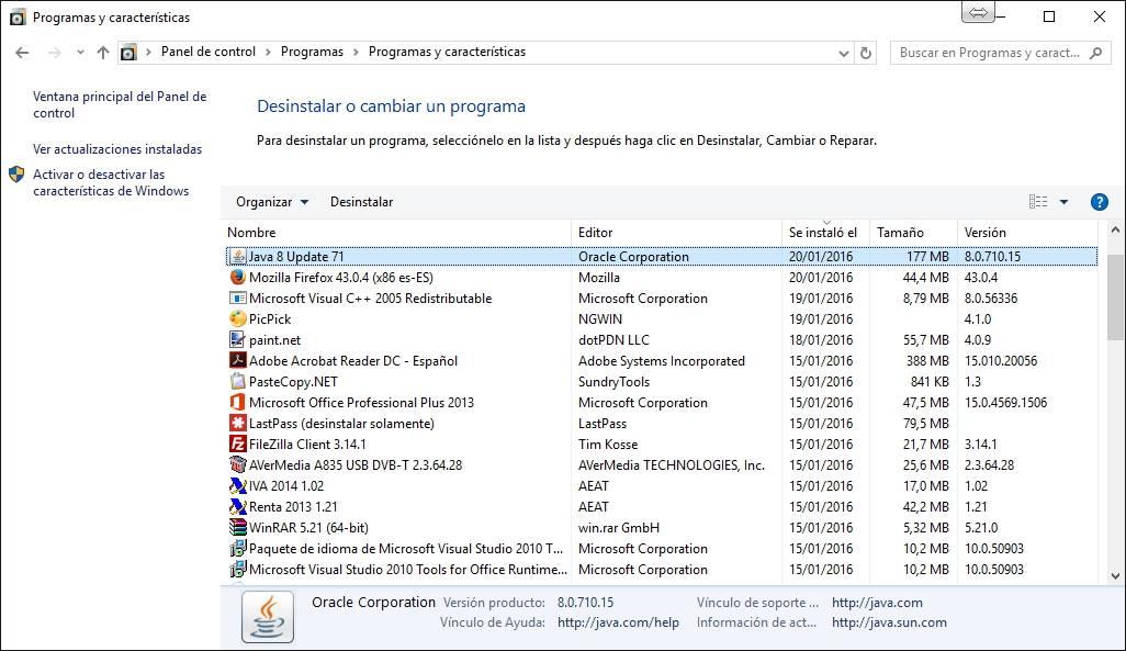 Desinstalar programas en windows.