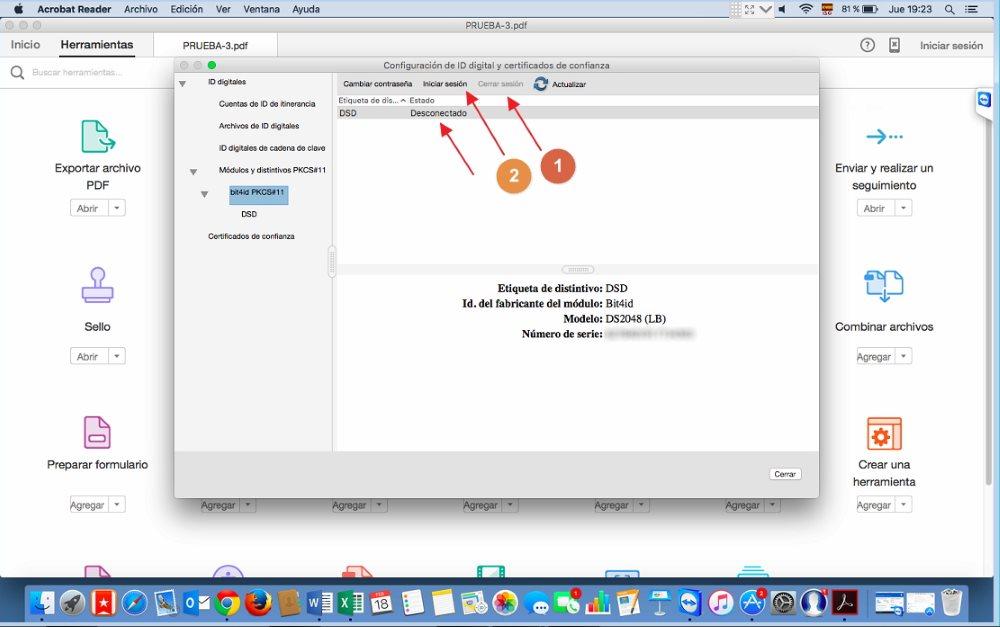Modulos y Dispositivos - tarjetas de certificados Acrobat Reader Dc Mac