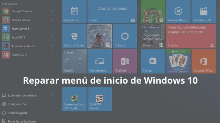Reparar menú de inicio de Windows 10