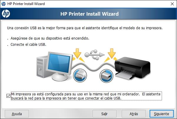 Opciones del Instalador automatico de drivers de impresoras HP