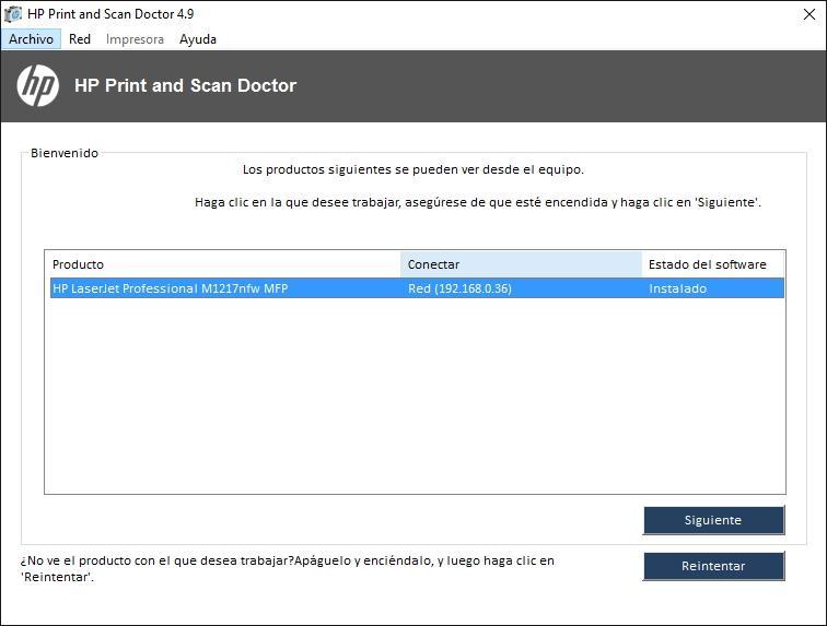 Software Instalación y diagnóstico para impresoras HP