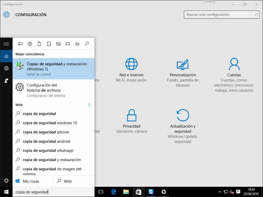 Buscar copia de seguridad y restauración para realizar copia de seguridad de windows o imagen del sistema