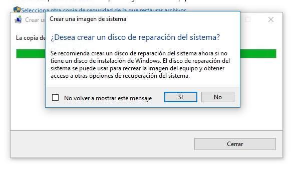 Crear disco de reparación del sistema