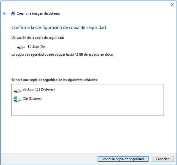 iniciar copia de seguridad de imagen de sistema