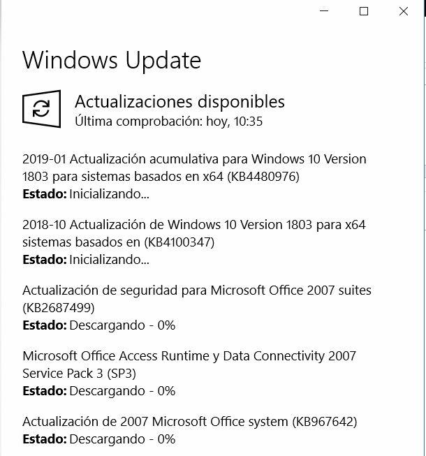 Actualizaciones Disponibles Windows 10