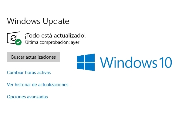 Botón con logo actualizaciones Windows 10