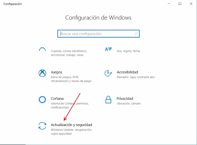Panel de configuración Windows 10