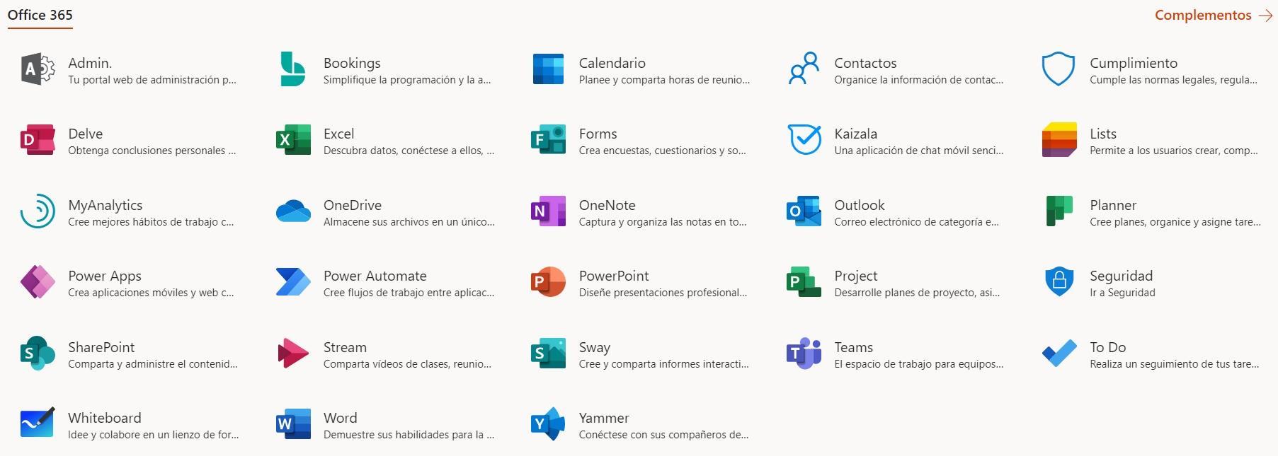 Listado de aplicaciones office 365